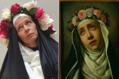 "A submission for booooooom.com's ""Remake"" photo contest by Genevieve Blais (left) and the original artwork, Carlo Dolci's painting ""St. Rose of Lima."""